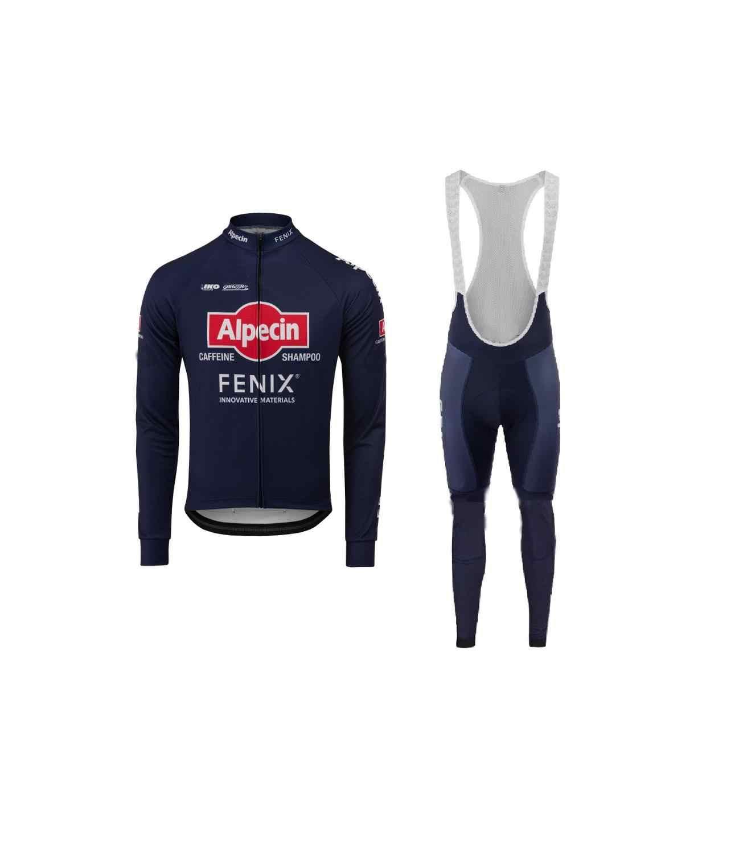 2020 Mens Team Thermal Fleece Cycling Jerseys Long Sleeve And Cycling Bib Pants