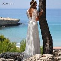 Simple Bohemian Wedding Dress Beach with Lace Bolero Robe de Mariee 2020 Strapless Sexy Bridal Chiffon Wedding Gowns