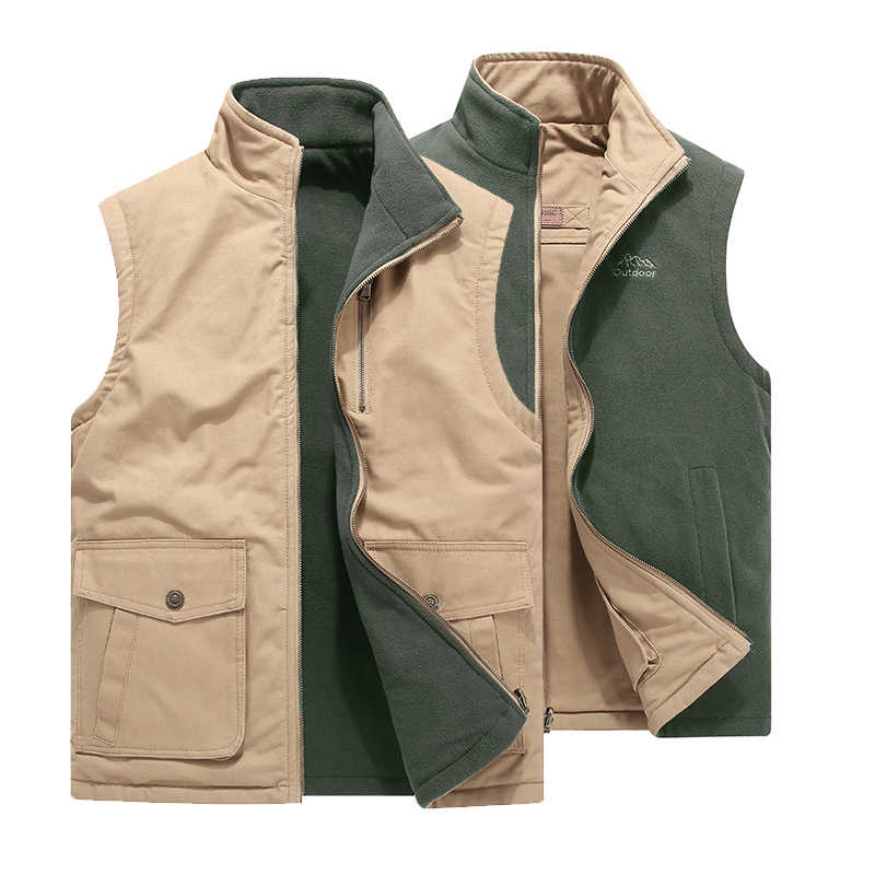Color : Khaki, Size : L Vest Jacket Mens Cotton Mens Thick Fashion Winter Warm