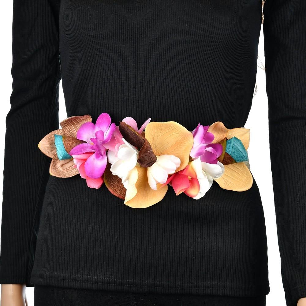 Sweet Elegant Women Pink Flower Belt Elastic Waist Chain Wedding Buckle Waistband Boho Floral Belt Accessories DW10