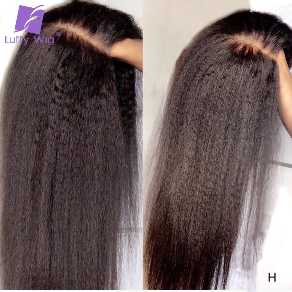 LUFFY Kinky Straight Remy Brazilian 13x6 Lace Front Human Hair Wigs Preplucked With Baby Hair Bleached Knots 180 Density