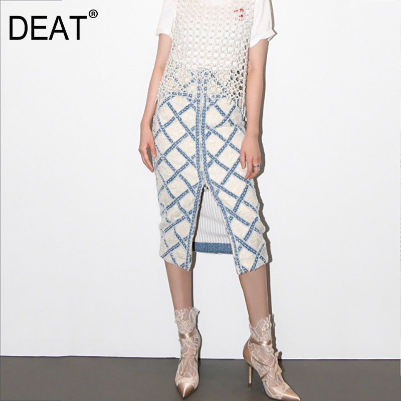 DEAT 2020 New Spring And Summer Fashion Runway Styles Women Clothing Half Body Long Straight Plaided Denim Patchwork Skirt WL570