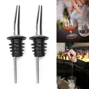 Stainless Steel Liquor Spirit Pourer Wine Bottle Pour Spout Stopper Wine Liquor Bottle Speed Pourers with Tapered Spout Barware