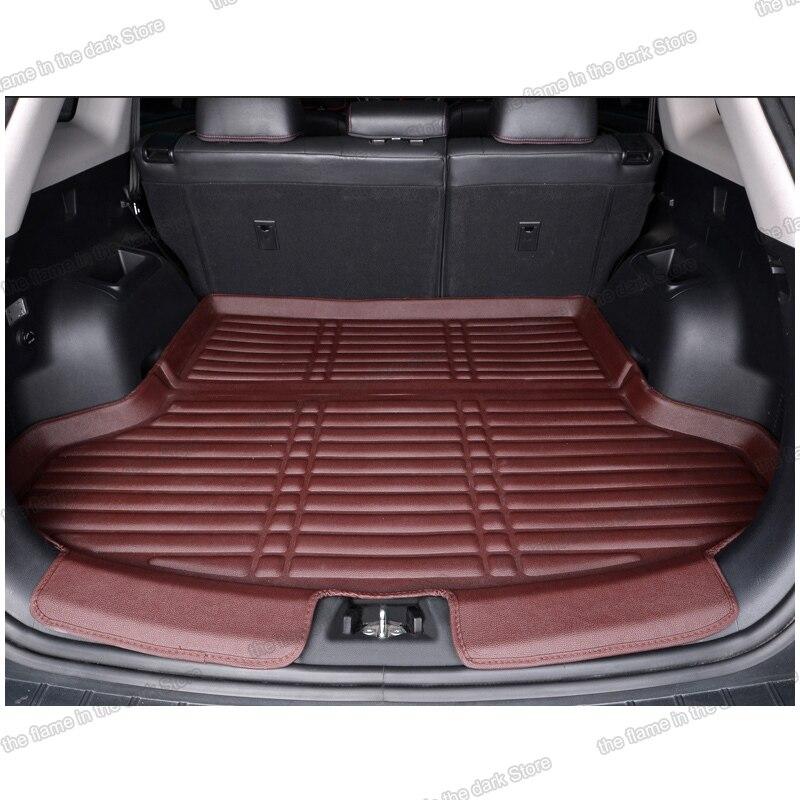 Lsrtw2017 Fiber Leather Car Trunk Mat For Hyundai Santa Fe 2013 2014 2015 2016 2017 2018 Cargo Liner Interior Accessories