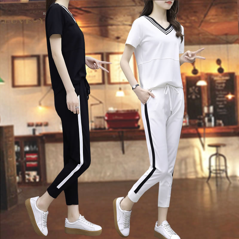 Casual Sports Clothing WOMEN'S Suit Spring And Summer Fashion 2019 New Style Korean-style Elegant Loose Short Sleeve Capri Pants