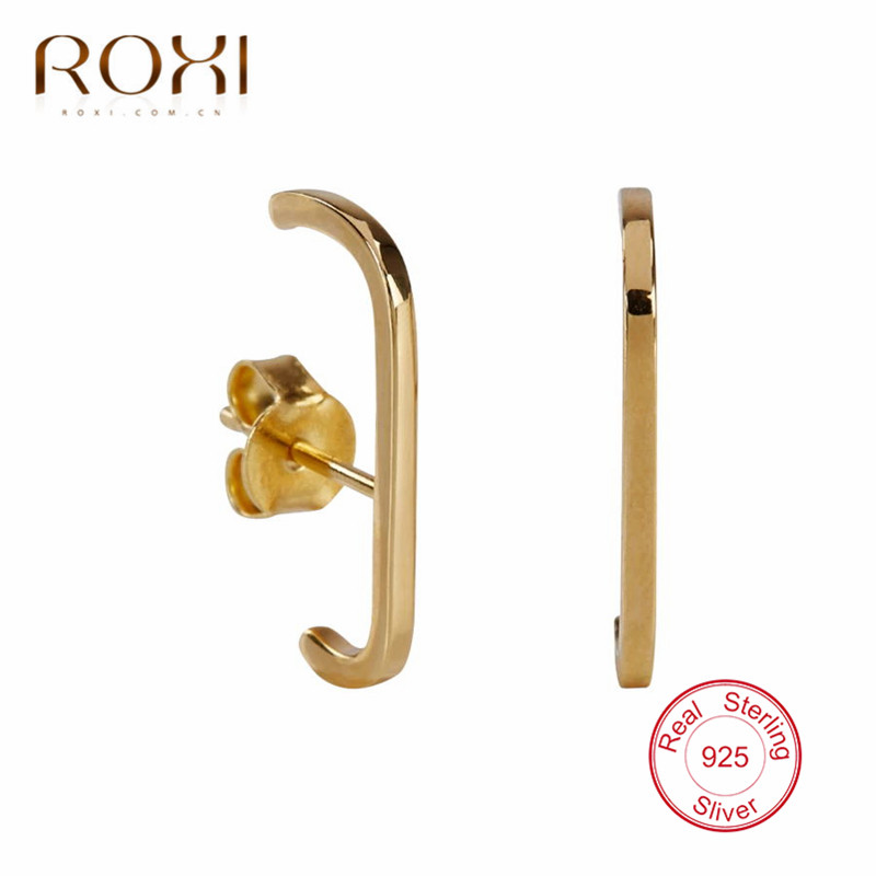 ROXI 100% 925 Sterling Silver Simple Geometric Stud Earrings for Women Rainbow CZ C Shape Ladies Earring Minimalist Jewelry Gift