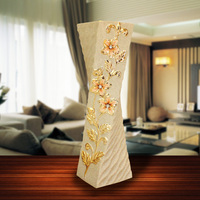 60CM Luxury Ceramic Vase Ornament Flower Vase Figurines Ceramics Crafts European Flower Pot Home Decor Cabinet Decoration R4331