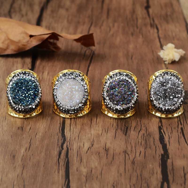 BOROSA GOLD สีรอบไทเทเนียมสายรุ้ง Druzy แหวน Zircons Drusy Big Stone แหวนเครื่องประดับสำหรับงานปาร์ตี้ครบรอบ JAB759