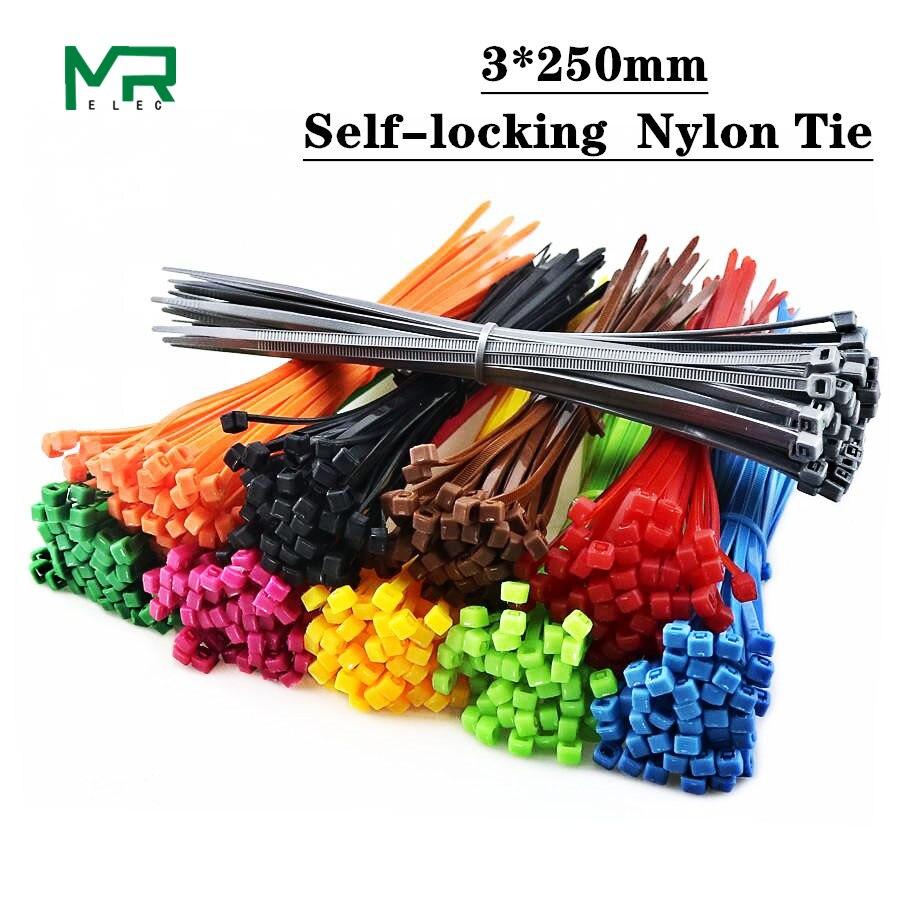 4*200mm Color Self-locking Plastic Nylon Cable Ties Wire Zip Tie Strap Wrap X100