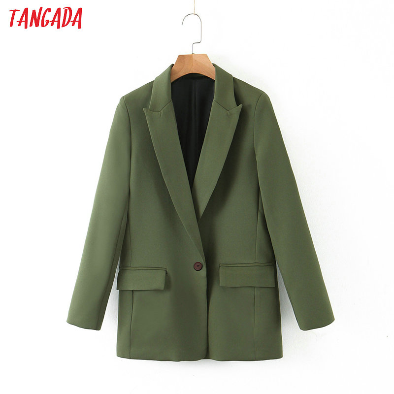 Tangada Women Amy Green One Button Blazer Female Long Sleeve Female Casual Jacket Blazer Formal Suits SL216