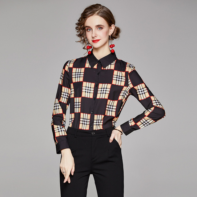 Big Checked Women Blouse Long Sleeves blusas mujer de moda Plaid blusas de mujer Spring Fall chemisier femme women clothes Sexy 3