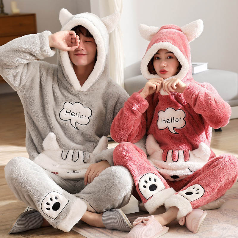 2019 New Winter Couple Pajamas Warm Thickening Women Pajamas Set Hooded Home Wear Female Sleepwear Long Sleeve Pyjamas Suit