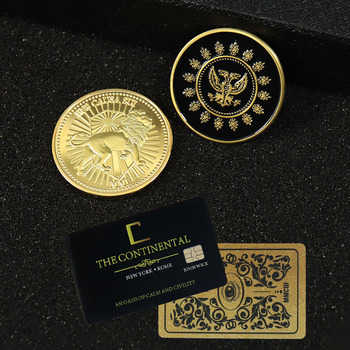 John Wick Movie Gold Coin Cosplay Continental Hotel Card Adjudicator Black Medallion Keanu Reeves Fans Collection Props