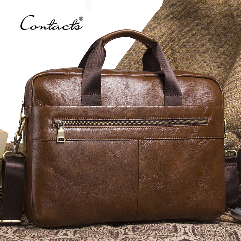 CONTACT'S NEW Business Genuine Leather Men Briefcase Cowhide Men's Messenger Bags For 14