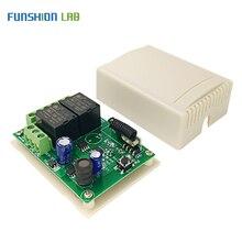 Funshion 433 mhz dc 6 v 12 v 24 v universal sem fio interruptor de controle remoto 2 ch rf relé módulo receptor DC5 30V para casa inteligente