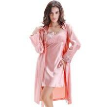 Женский Атласный халат с длинным рукавом Шелковый банный и платье
