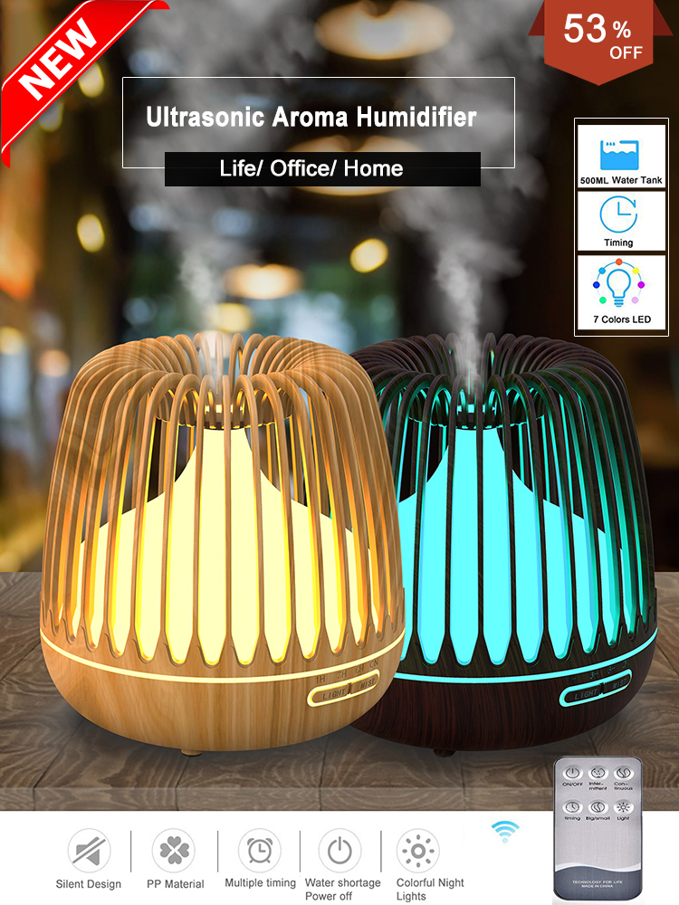 YAJIAO Aroma Diffuser Essential-Oil Ultrasonic-Air-Humidifier Changing 500ML Led-Lights