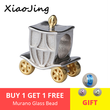 New design 100% 925 Sterling Silver pumpkin carriage with golden wheel Fit pandora Bracelets diy Jewelry making for Gift