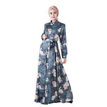 New Muslim Abaya Women Kaftan Dress Loose printed Abaya Islamic Turkish Long Dresses casual Women Muslimah abaya dubai SL1737