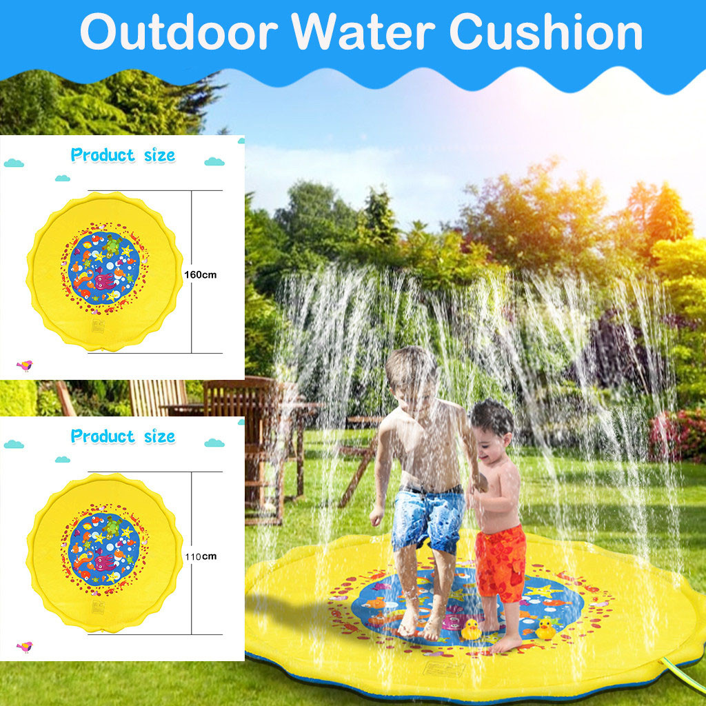 Outdoor Water Spray Mat Lawn Spray Pool Water Spray Toy Fountain Mat Sprinkler Mat 1.6M And 1.1M Hippocampus