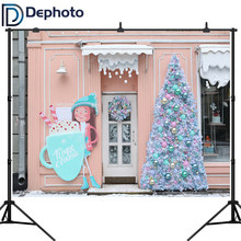 Dephoto Photography Backdrop Cream Dreams Sweet Shop Christmas Tree Snow Decorations Kids Background Photo Studio Booth Props(China)