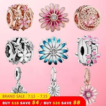 цена HOT! 925 Sterling Silver Sparkling Sparkling Daisy Flower Charm Bead Fit Original Pandora Bracelet Bangle For Women Jewelry Gift онлайн в 2017 году