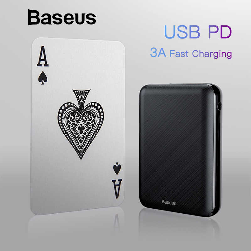 Baseus Mini 10000mAh Power Bank for iPhone USB Type-C PD Fast Charging Powerbank for 2019 iPhone 11 Pro Max External Battery