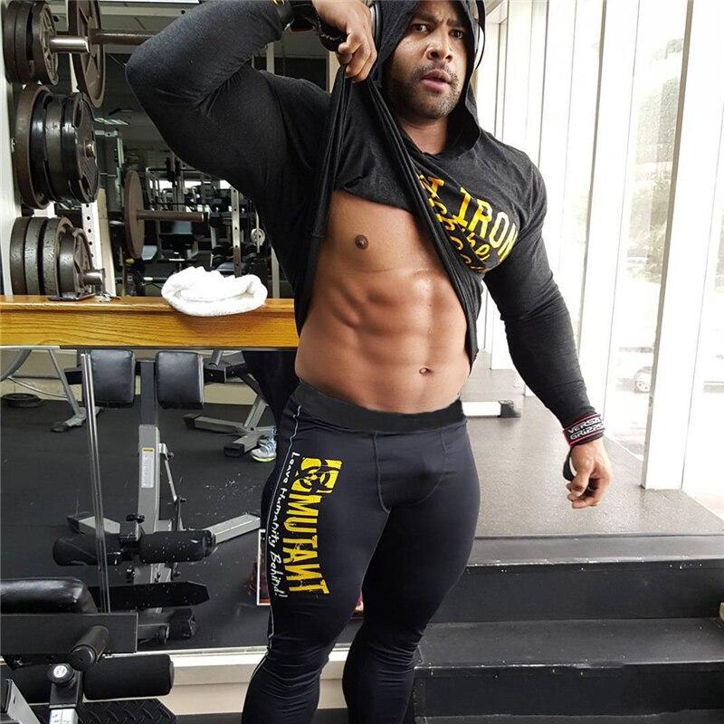 Leggings da uomo pantaloni Skinny palestre Fitness Bodybuilding