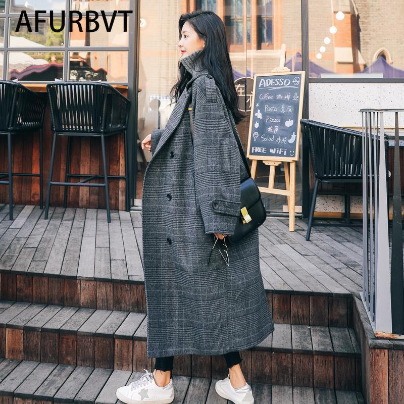 2021 Women Coat Outerwear Spring Clothing Fashion Warm Woolen Blends Female X Long Elegant Double Breasted Woolen Coat Plaid