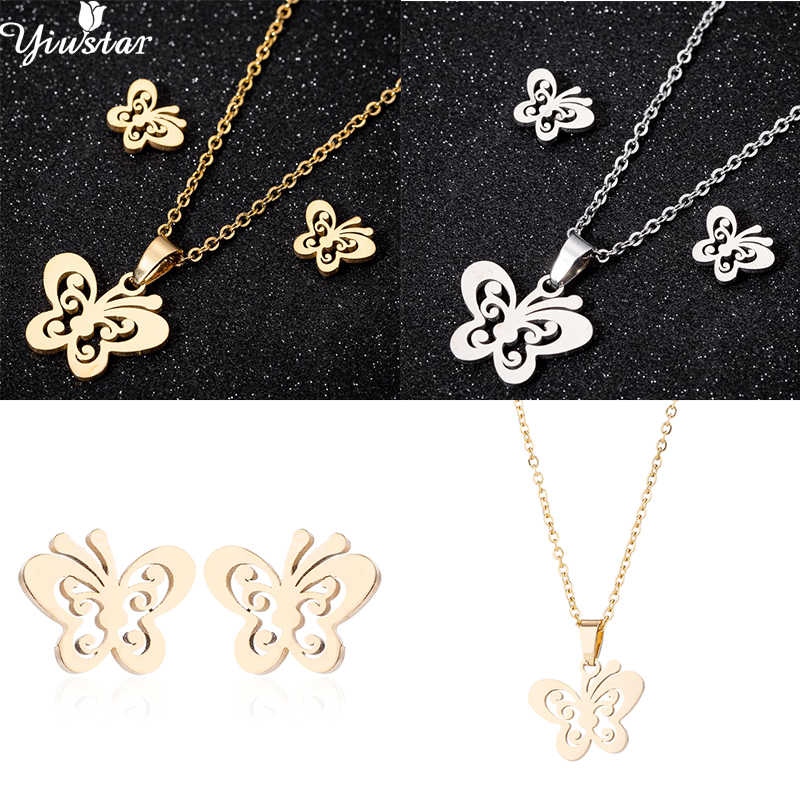 yiustar Sweet Animal Necklaces Choker Charming Butterfly Pendant Statement Necklace Fashion Jewelry collier femme Birthday Gifts