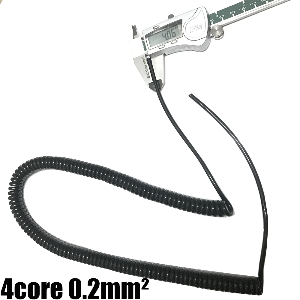 <font><b>4</b></font> <font><b>Core</b></font> Extensible <font><b>Wire</b></font> Spiral Cable Spiral Electric Cable 4pin 0.2 Square Stretch 1m 2m 3m Black Power Cord image