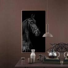 Черный голова лошади картина с рисунком животных Плакаты и принты