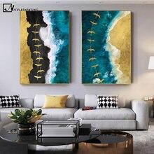 Toile abstraite avec vagues d'or, affiche de paysage, mer, mer, mer, mer, décoration murale