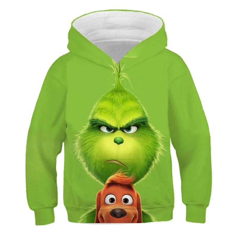 Kids Hoodie Jumper Boys Girl Hoody 3D The Grinch Pullover Sweatshirt Activewear