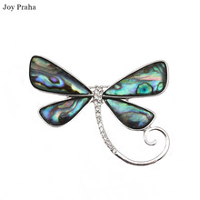 Original handmade natural abalone shell / Dragonflies butterflies one-line brooch pin