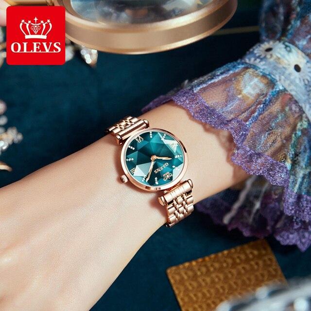 OLEVS New Women Luxury Jewel Quartz Watch Waterproof Stainless Steel Strap Watch For Women Fashion Date Clock 3