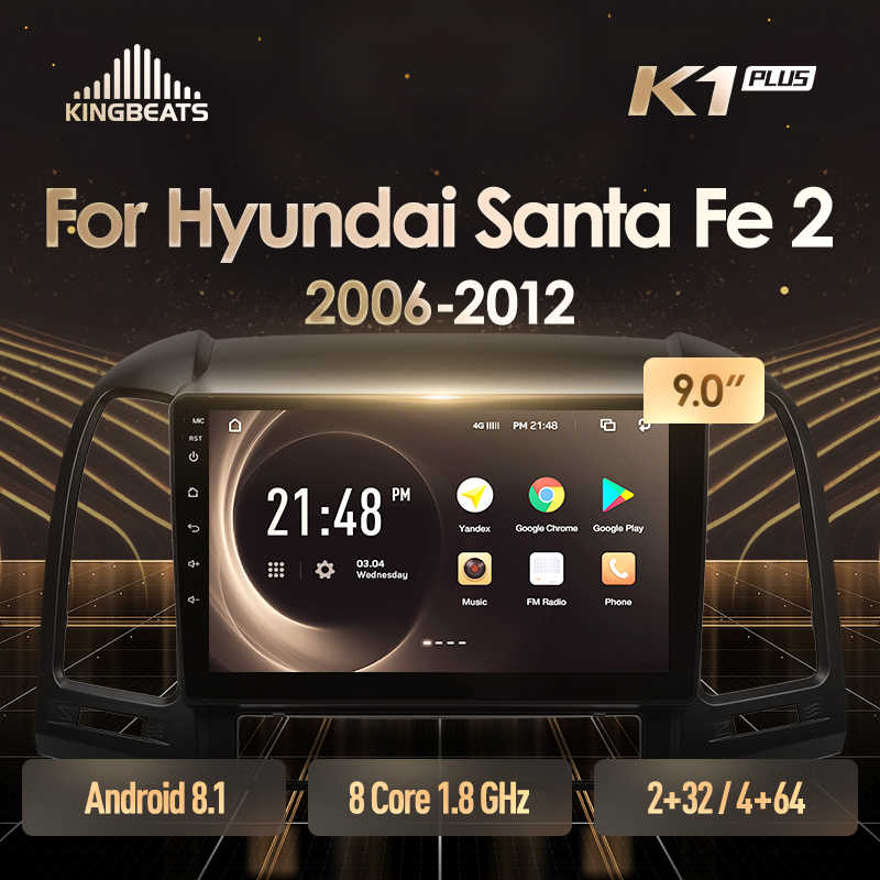 KingBeats Android 8.1 Octa-Core head unit 4G in Dash Car Radio Multimedia Video Player Navigation GPS For Hyundai Santa Fe 2