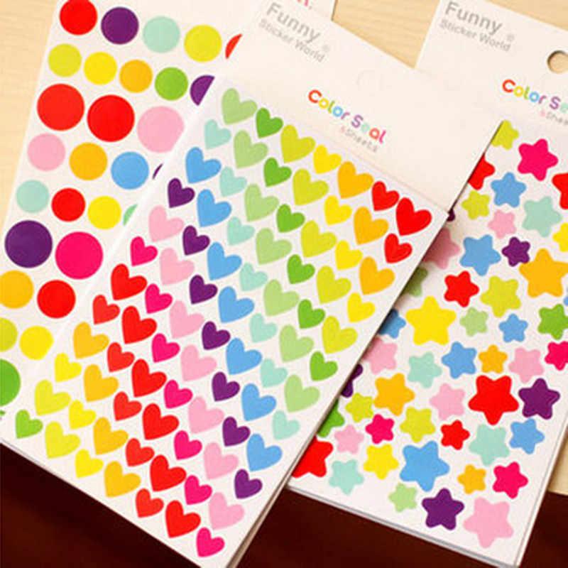 Collage คู่มือวัสดุตกแต่ง DIY สติกเกอร์สีสด Dot รัก FIVE-pointed Star ตกแต่งสติกเกอร์โน้ตบุ๊คสติกเกอร์