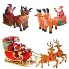Navidad Santa claus carrito inflable de trineo de renos Castillo inflado de trineo de ciervos para niños regalos de navidad accesorios de fiesta de navidad - 3