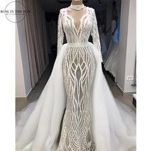 Lüks Tam Boncuklu Mermaid Gelinlik Abiye Uzun Kollu Seksi Illusion Örgün Elbise Iki Parçalı düğün elbisesi Ayrılabilir Etek ile