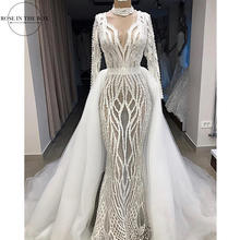 Luxury Full Beaded Mermaid Wedding Gowns Long Sleeve Sexy Illusion Formal Dress Two Piece Wedding Dress with Detachable Skirt