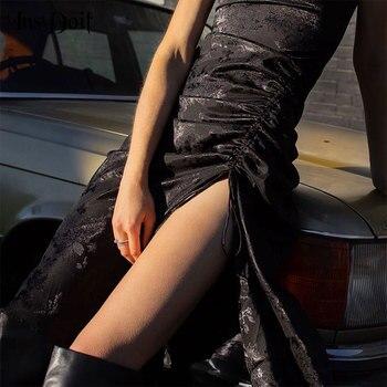 InsDoit Gothic Harajuku Black Dress Vintage Sexy Bandage Slit Butterfly Print Dress Streetwear Bodycon High Waist Camis Dress empire waist tartan print slip dress