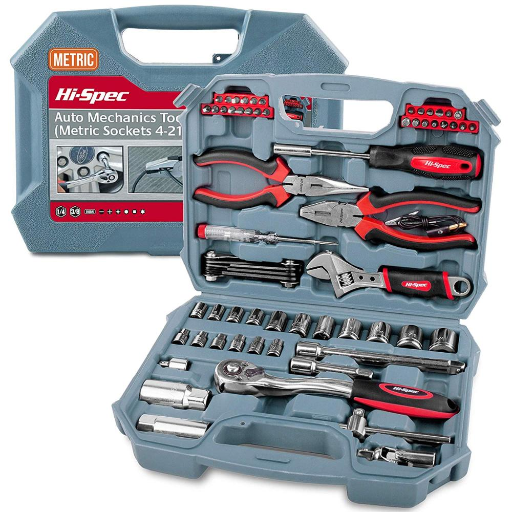 Hi-Spec 67pc Hand Tool Set Metric Car Auto Repair Automotive Mechanics Tool Kit Home Garage Socket Wrench Tools In Tool Case