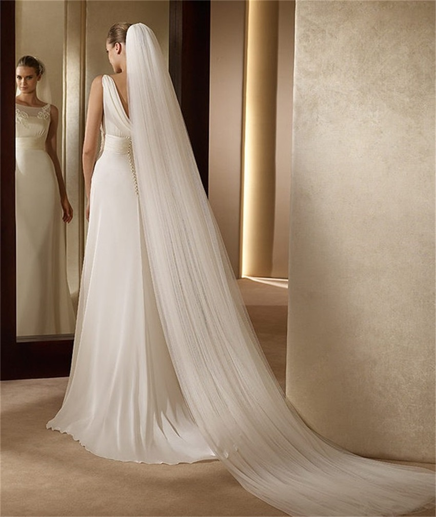 NUOXIFANG 2020 Hot Sale Elegant Wedding Accessories 3 Meters 2 Layer Wedding Veil White Ivory Simple Bridal Veil With Comb