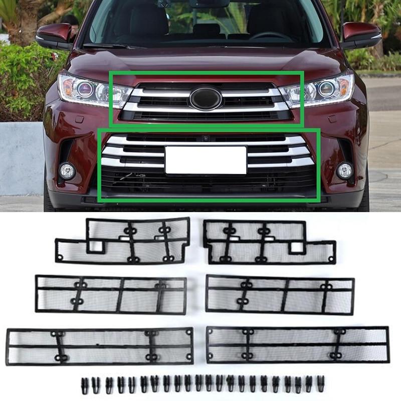 Accesorios para Toyota Highlander Kluger 2017 2018 mosquitera de coche rejilla frontal inserto red 6 uds-in Estilo cromado from Automóviles y motocicletas
