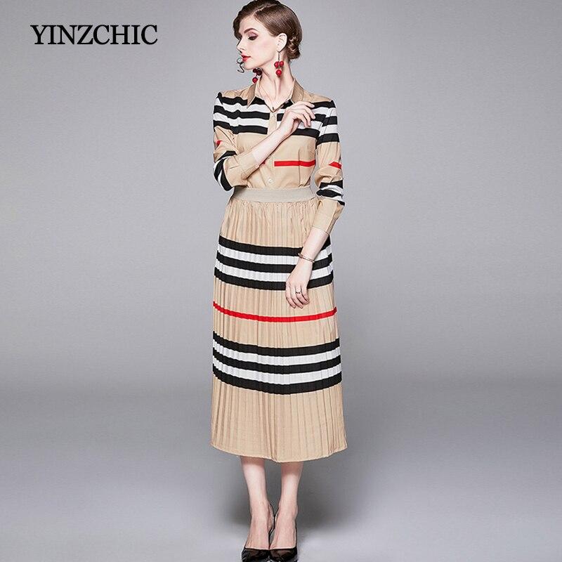 Sprint Woman Print 2pc Set Elegant Female Blouse Skirt Suits Striped Blouse + Pleated Skirt Set Suits For Woman OL Fashion Set