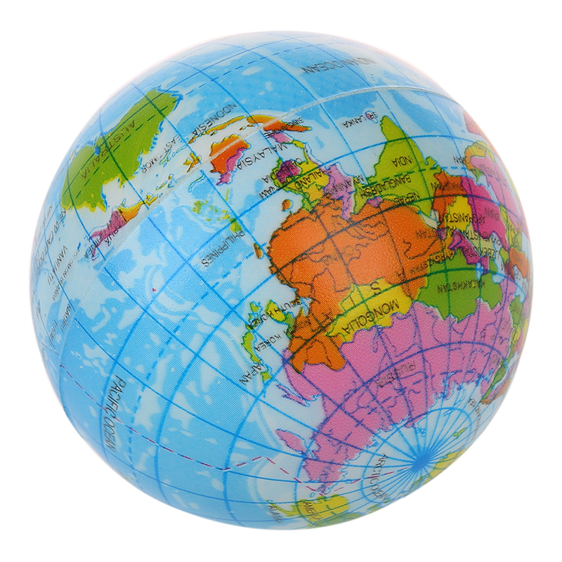 NEW WORLD MAP FOAM EARTH GLOBE STRESS RELIEF BOUNCY BALL ATLAS GEOGRAPHY TOY