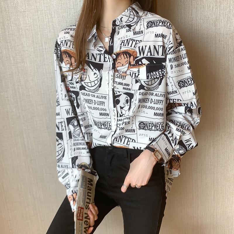 Blusa de verão para as senhoras menina botão acima da camisa anime japonês uma peça macaco d luffy manga roupas harajuku topos