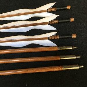Image 4 - 6/12/24pcs ยิงธนู Handmade ไม้ไผ่ลูกศร 5 นิ้วตุรกี Feathers สำหรับ Recurve Bow/ตรงโบว์/อเมริกันกลางแจ้งการล่าสัตว์