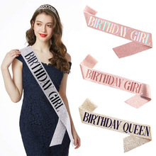 День рождения украшения из розового золота на день рождения Queen/девушка пестрого сатина, с украшением в виде кристаллов короны для женщин Вз...